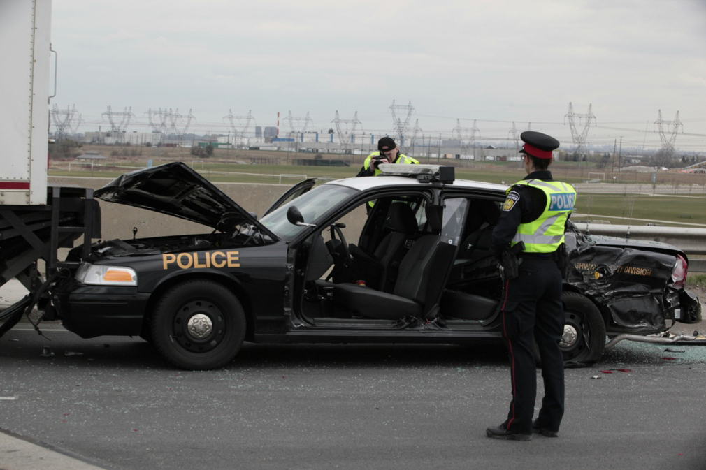OPP officer rushed to hospital after Dixie Road crash