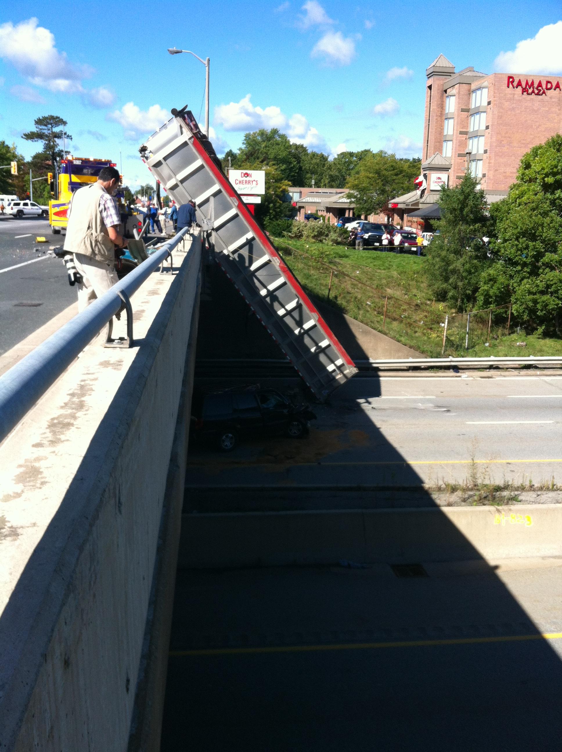 Dump truck crash on QEW in Niagara Falls
