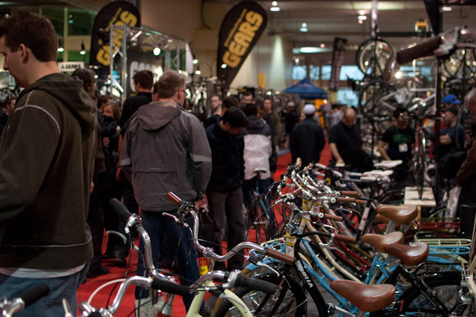 People walk around at the Toronto International Bicycle Show. Photo credit: Toronto International Bicycle Show