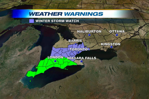 Toronto Weather Map Winter storm watch issued for Toronto, GTA on Thursday Toronto Weather Map