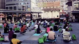 Yogathon participants gather at Yonge-Dundas Square on Aug. 17, 2013. CITYNEWS/David Marquez