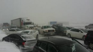 A multi-vehicle pileup on Highway 400 in Innisful forced road closures on Feb. 27, 2014. COURTESY: OPP/Dave Woodford