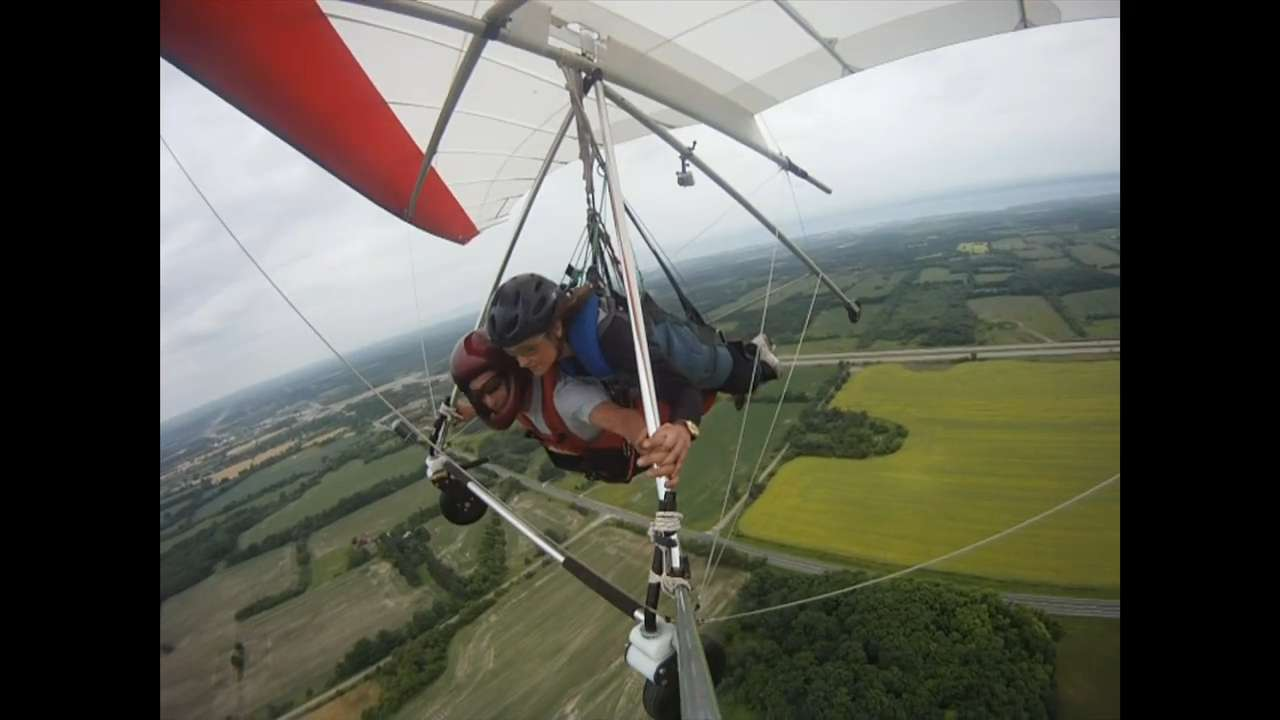 Raw video: Stella Acquisto hang-glides in Pickering