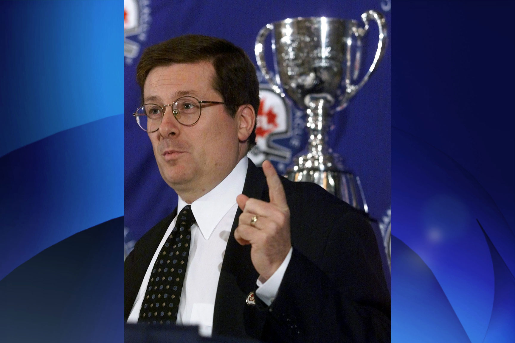 Canadian Football League Commissioner John Tory speaks to reporters at the annual news conference during Grey Cup week on Nov. 26, 1999 in Vancouver. THE CANADIAN PRESS/Ryan Remiorz