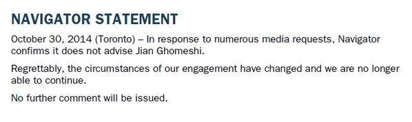 Navigator statement re. Jian Ghomeshi