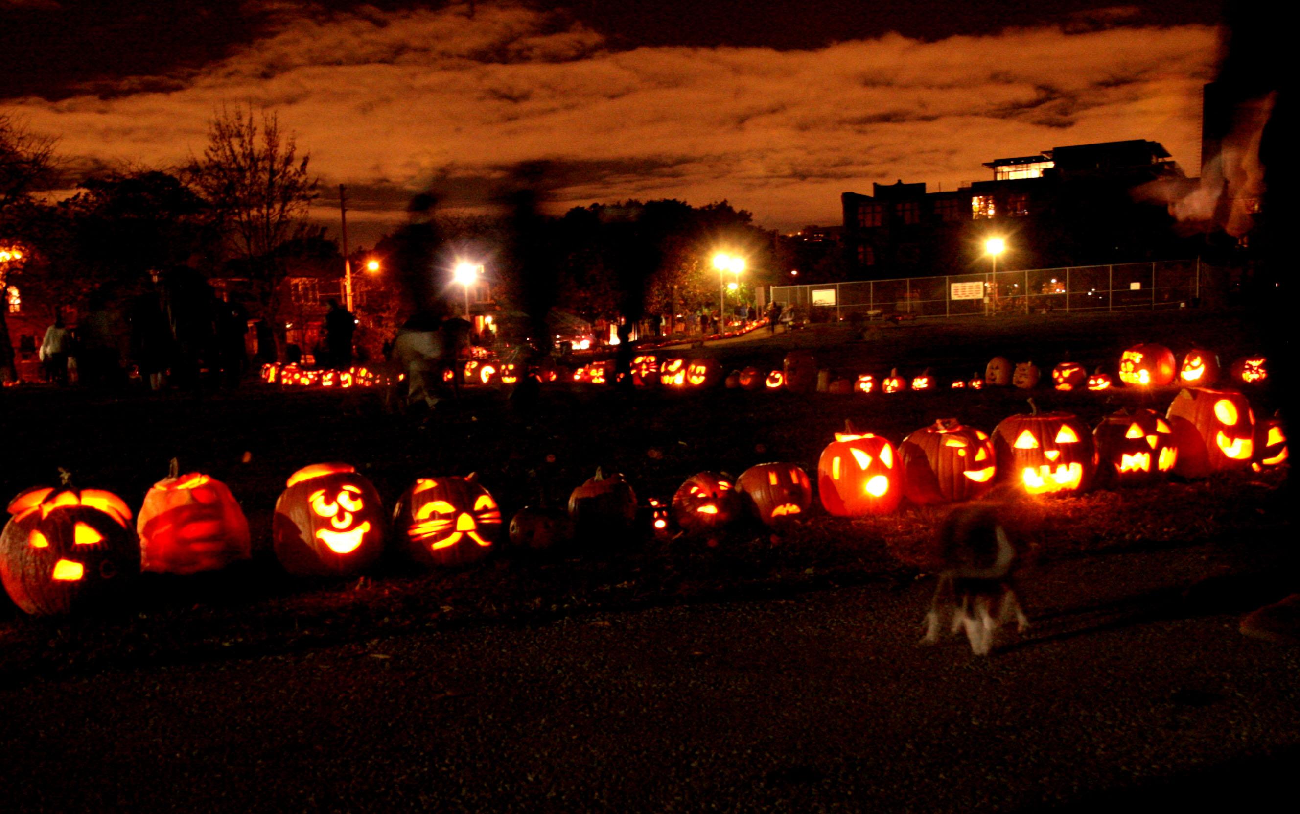 Thousands of jack-o-lanterns line Sorauren Park for their annual pumpkin parade. Photo via: soraurenpark.wordpress.com
