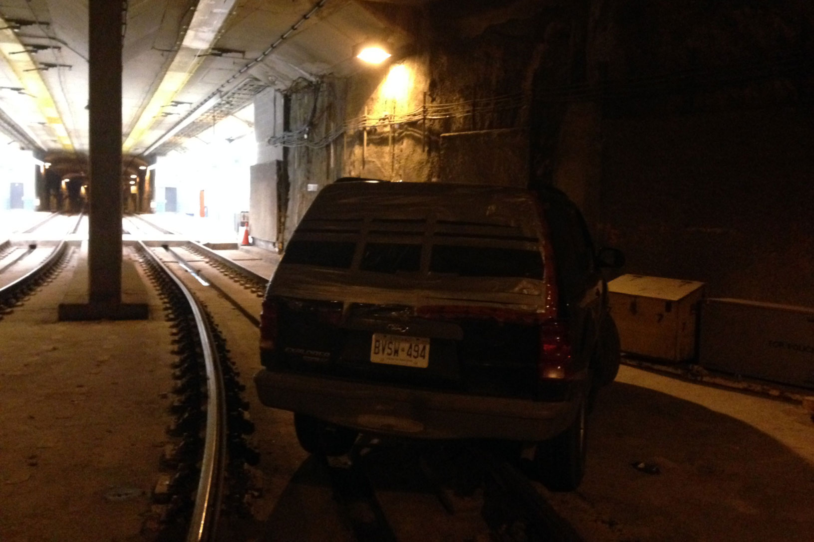 A man is in custody after driving an SUV into the streetcar tunnel at Queens Quay on Oct. 24, 2014. CITYNEWS
