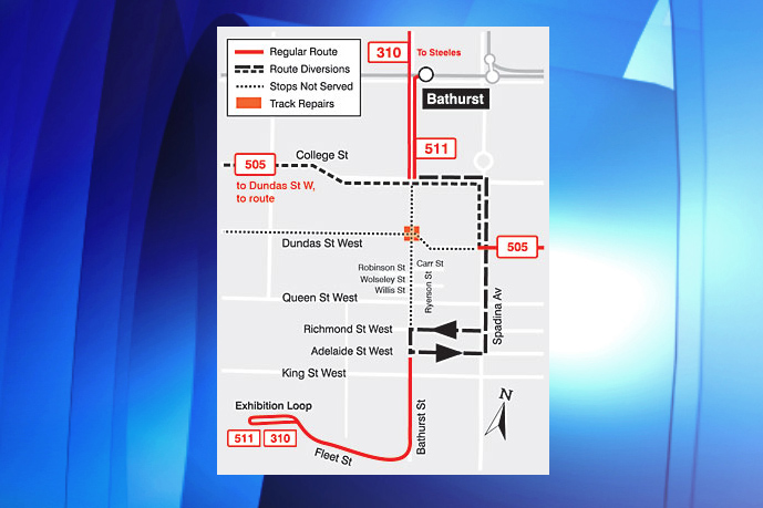 A map of the diversions and changes to transit routes due to TTC and city construction (HANDOUT/TTC)