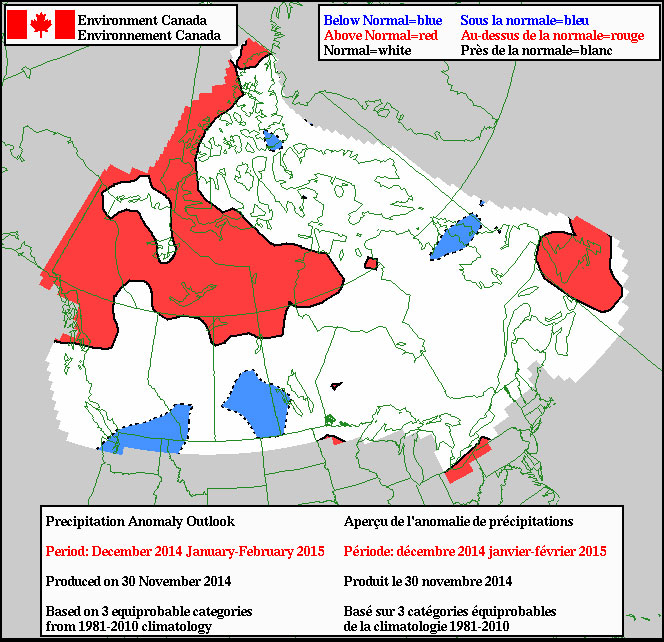 Environment Canada's precipitation prediction for the winter, which was produced on Nov. 30, 2014. ENVIRONMENT CANADA