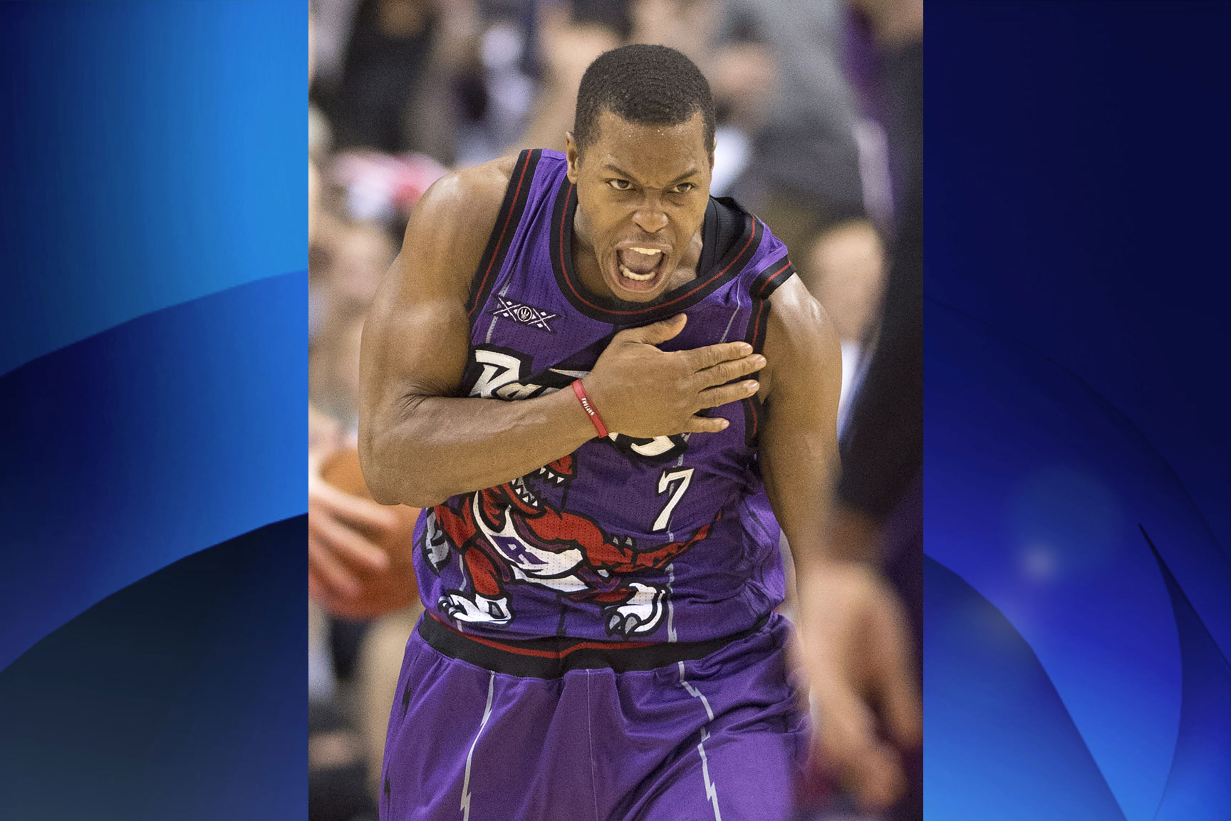 Toronto Raptors' Kyle Lowry celebrates during the Raptors win over the Brooklyn Nets in NBA action in Toronto on Dec. 17, 2014. THE CANADIAN PRESS/Frank Gunn.