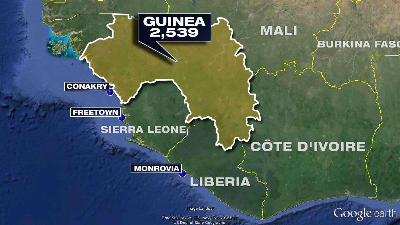 The latest Ebola death toll in Guinea according to the World Health Organization.