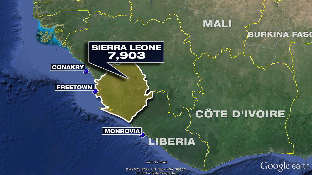 The latest Ebola death toll in Sierra Leone according to the World Health Organization.