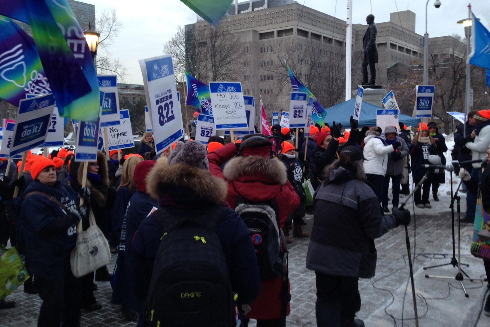Ontario's public service workers rally at Queen's Park on Feb. 17, 2015. CITYNEWS/Bert Dandy