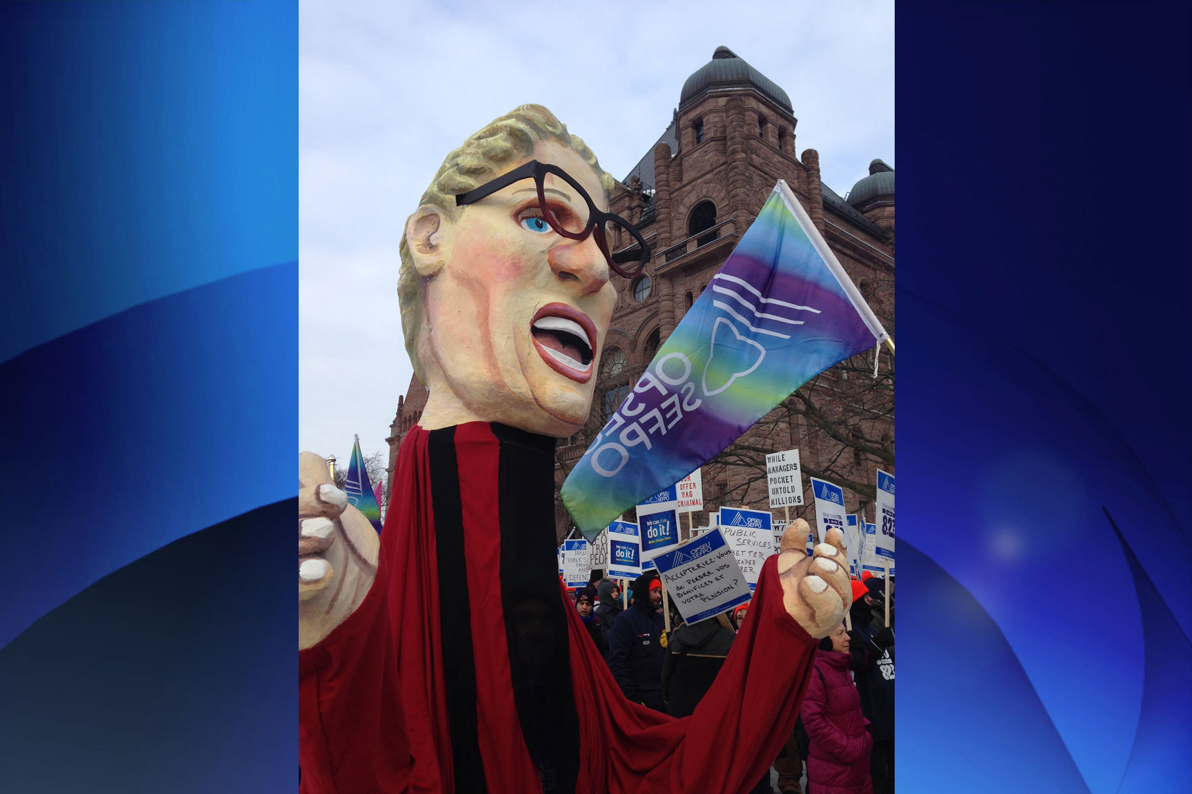 A caricature of Ontario Premier Kathleen Wynne at the public service workers rally at Queen's Park on Feb. 17, 2015. CITYNEWS/Peter Dworschak