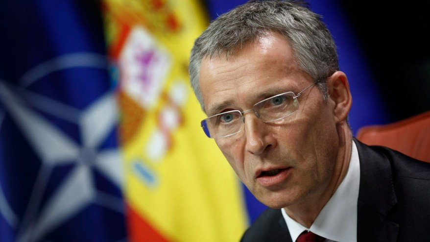 NATO General Secretary Jens Stoltenberg gives a join press conference with Spain's Foreign Minister Jose Manuel Garcia Margallo after a meeting at the Viana ... - Jens-Stoltenberg-878x494
