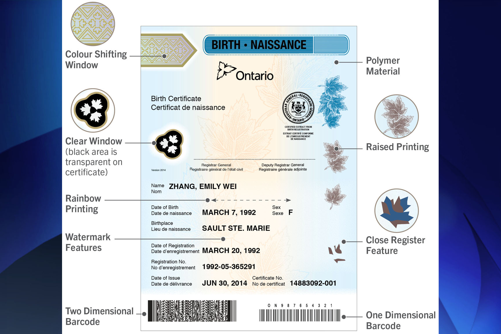 Ontario introduces new polymer birth certificates