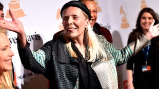 Joni Mitchell arrives at the 2015 Clive Davis Pre-Grammy Gala at the Beverly Hilton Hotel in Beverly Hills, Calif., on Feb.7, 2015. THE ASSOCIATED PRESS/John Shearer/Invision