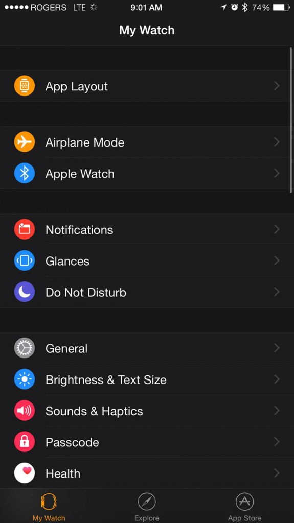 The Apple Watch app for iPhone. CITYNEWS/Mike Yawney