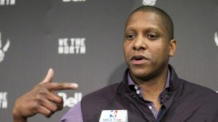 Toronto Raptors President and GM Masai Ujiri talks to the media on April 16, 2015, ahead of the team's first-round playoff game against the Washington Wizards.  GETTY IMAGES/Toronto Star/Bernard Weil