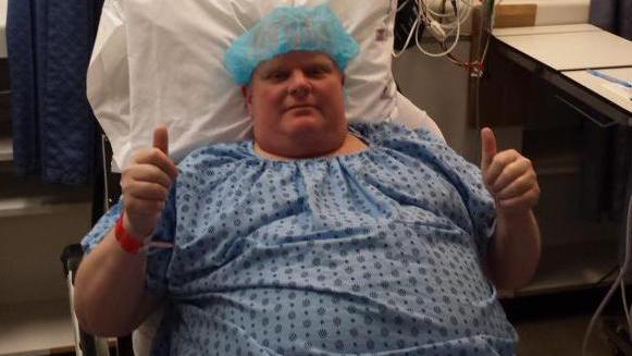 Rob Ford at Mt. Sinai Hospital on May 11, 2015. DAN JACOBS.