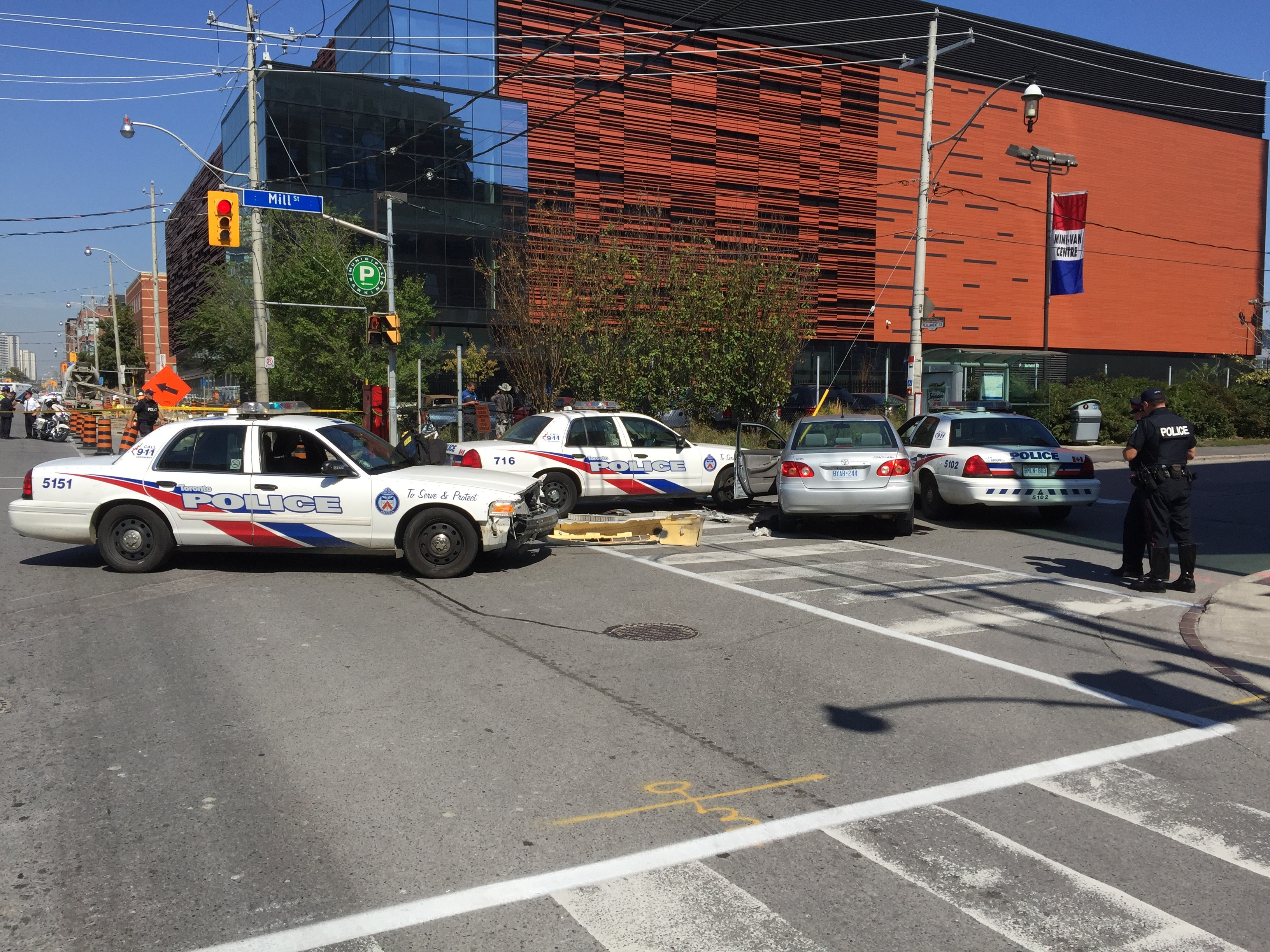 Police on the scene of pursuit in the Distillery District. Ryan Belgrave/CITYNEWS