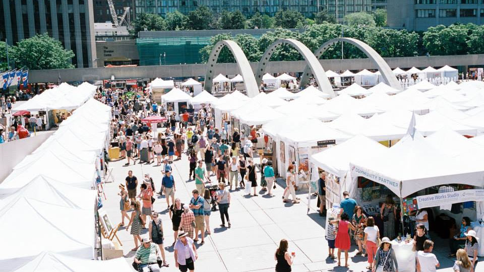 Toronto's Outdoor Art Exhibition at Nathan Phillips Square. Photo credit: Facebook.com/toaeart