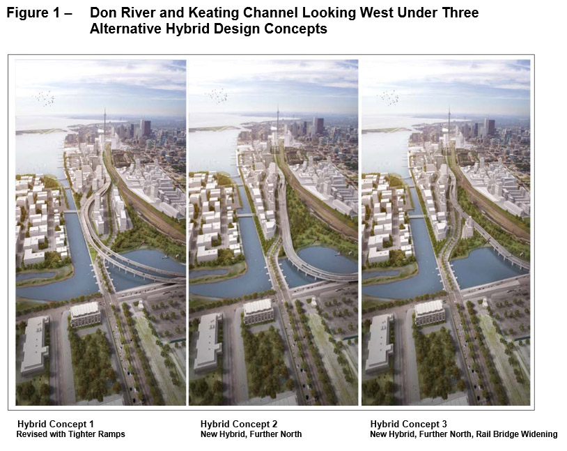 Three different proposals under consideration for a 'hybrid' Gardiner Expressway.  CITY OF TORONTO.