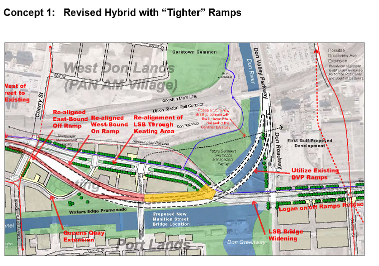 The first option for the 'hybrid' Gardiner Expressway. CITY OF TORONTO.