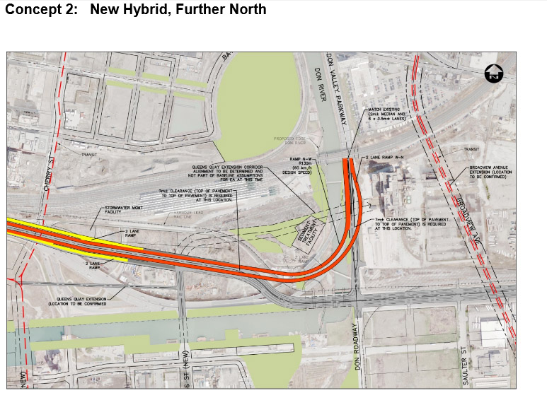The second option for the 'hybrid' Gardiner Expressway. CITY OF TORONTO.