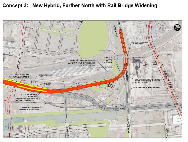 The third option for the 'hybrid' Gardiner Expressway. CITY OF TORONTO.