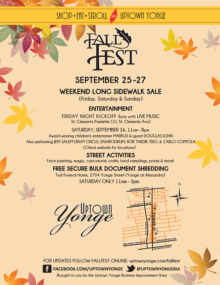 Poster for Uptown Yonge's Fall Fest. Photo via uptownyonge.com.