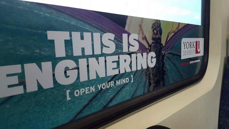 The word engineering spelt wrong on York University advertisement seen in image. Photo via Reddit user Sinister_Panda