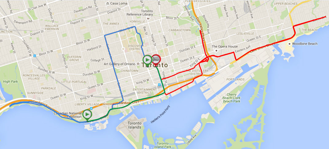 Road closure map for the 2015 Scotiabank Toronto Waterfront Marathon. Image via racepoint.ca.