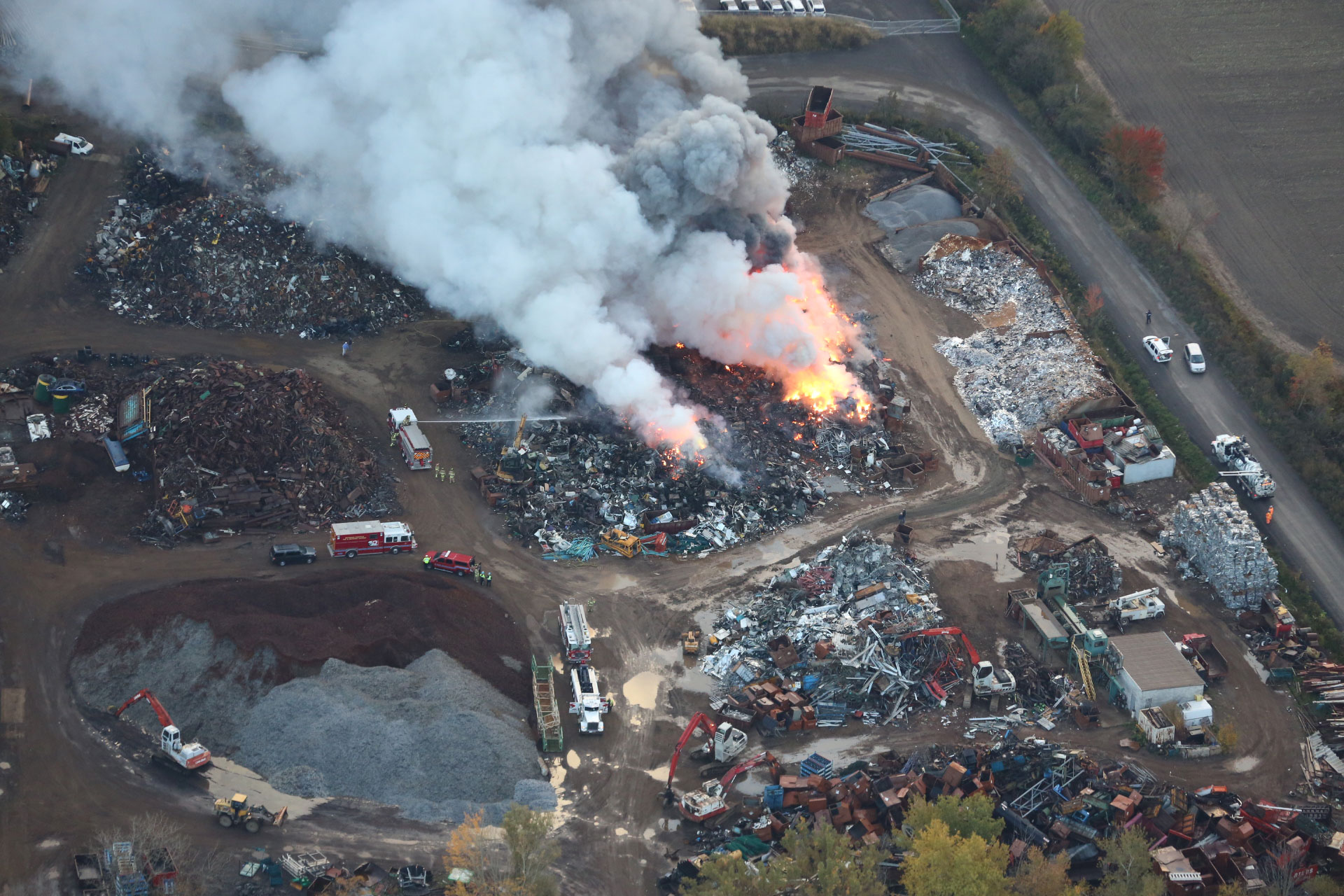A fire at a scrap metal yard on the east side of Woodbine Avenue, south of Stouffville Road, on Oct. 15, 2015. 680 NEWS/Darryl Dahmer