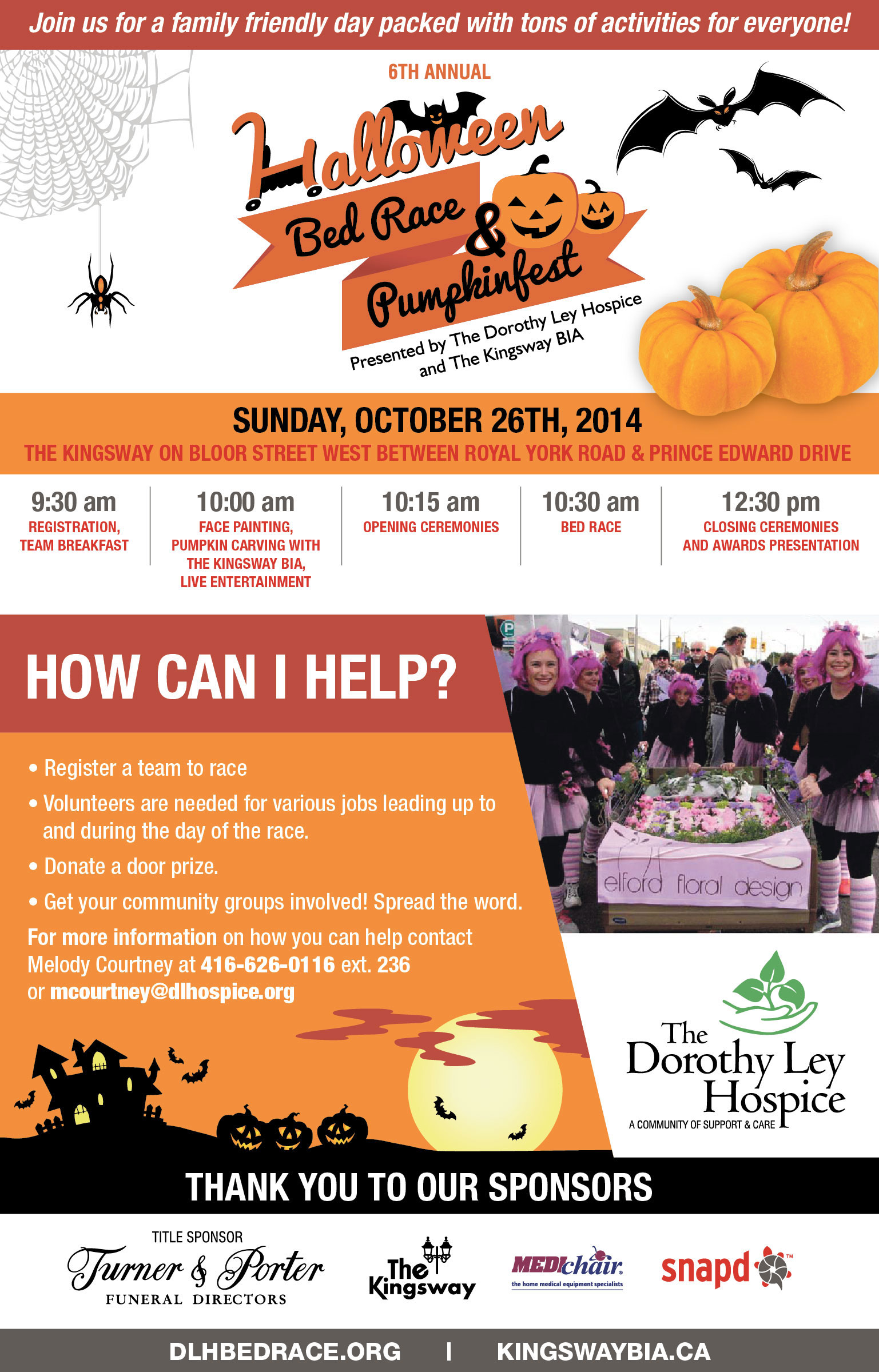 Poster for the Halloween Bed Race and Pumpkinfest in the Kingsway event. Photo via kingswaybia.ca.
