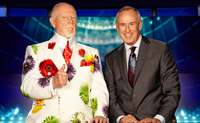 Don Cherry and Ron MacLean from Coach's Corner. Photo via canadaswalkoffame.com.