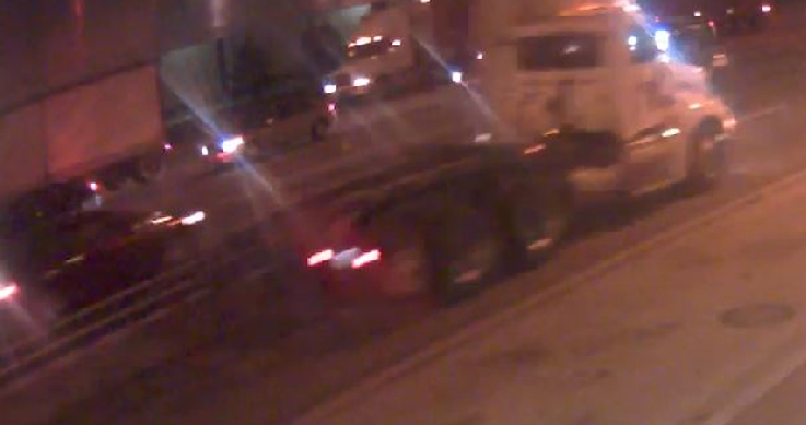 Peel police want to speak to the driver of this vehicle after a cyclist was killed in Brampton on Oct. 29, 2015. PEEL POLICE.