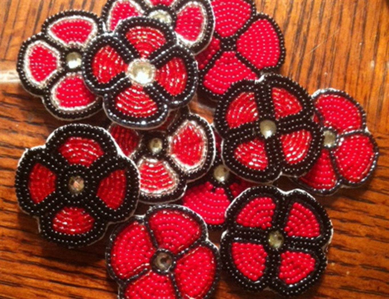 hand made poppies proudly worn by some aboriginal veterans to show