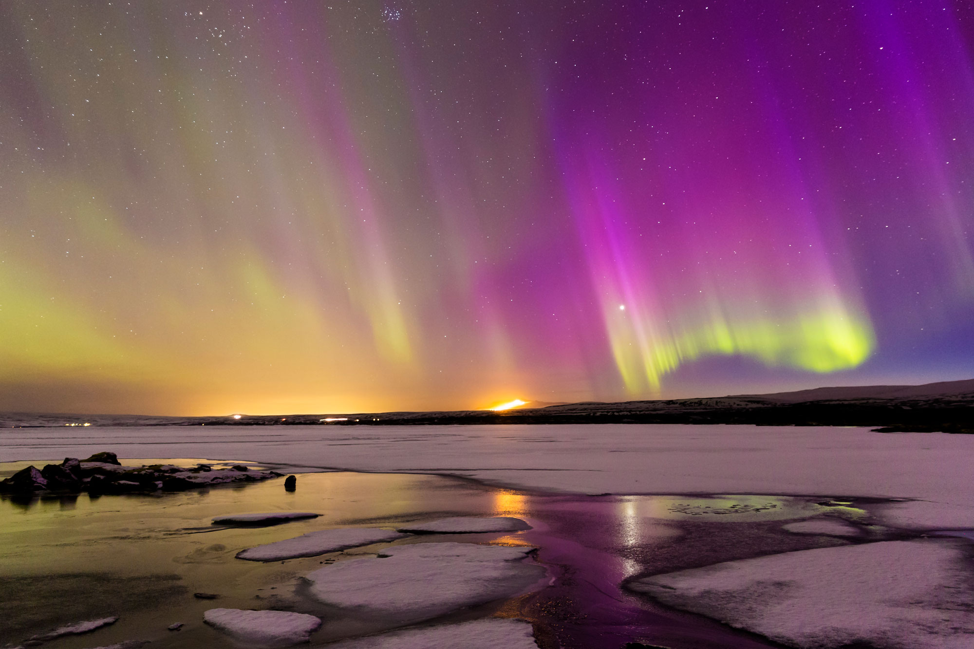 A huge solar storm created dazzling auroras at the National Park, lake Þingvallavatn, in Iceland on March 17, 2015 in Iceland. GETTY IMAGES/Bragi Kort / Barcroft Media.