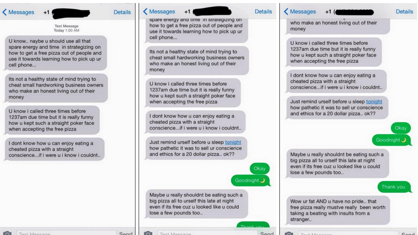 Pizza Pizza delivery driver fired over offensive text