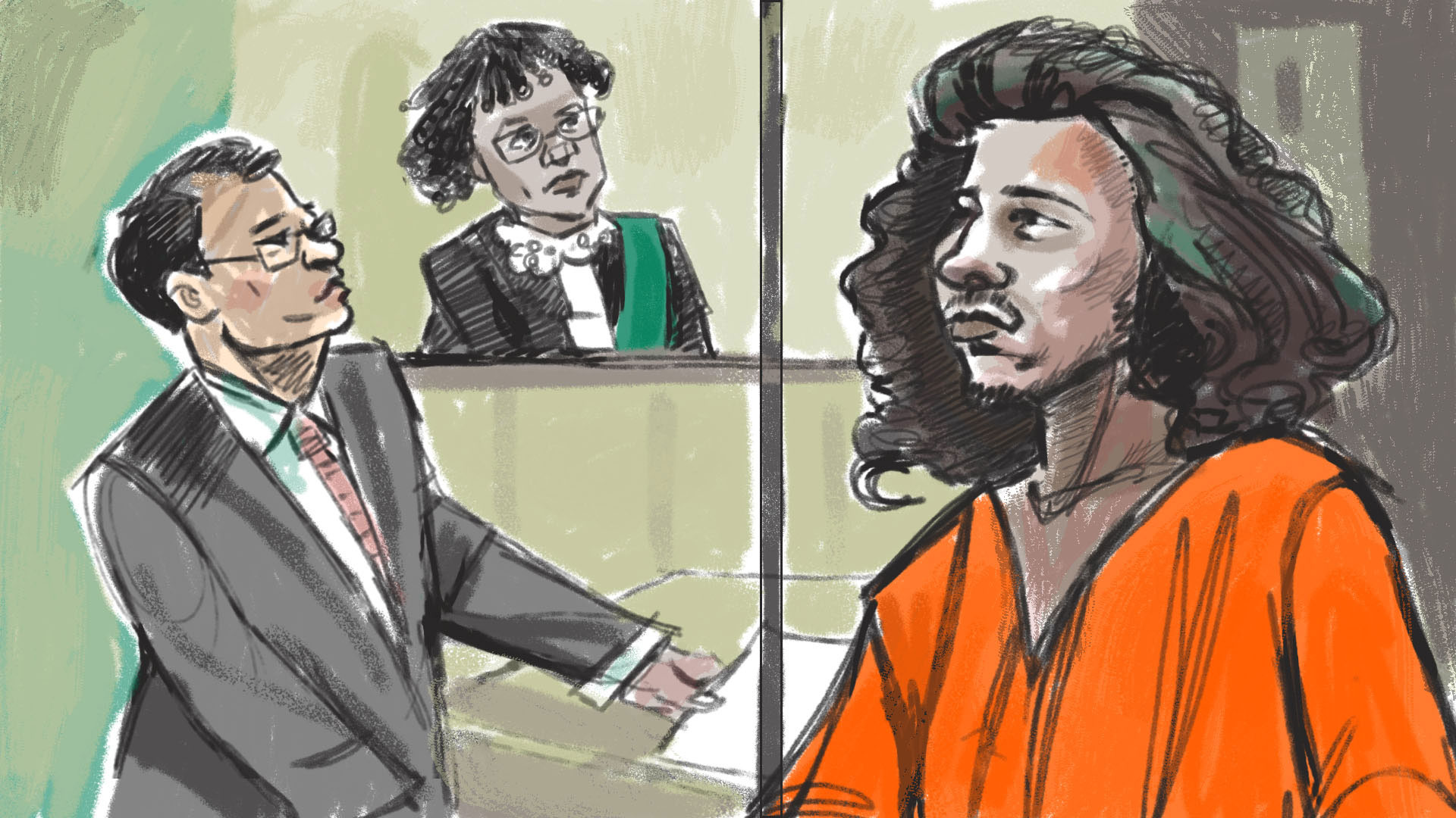 Sinbad King Simba Marshall, 21, charged with second-degree murder in the death of an elderly woman in east-end Toronto,  appears in court on Nov. 13, 2015. CITYNEWS/Marianne Boucher.