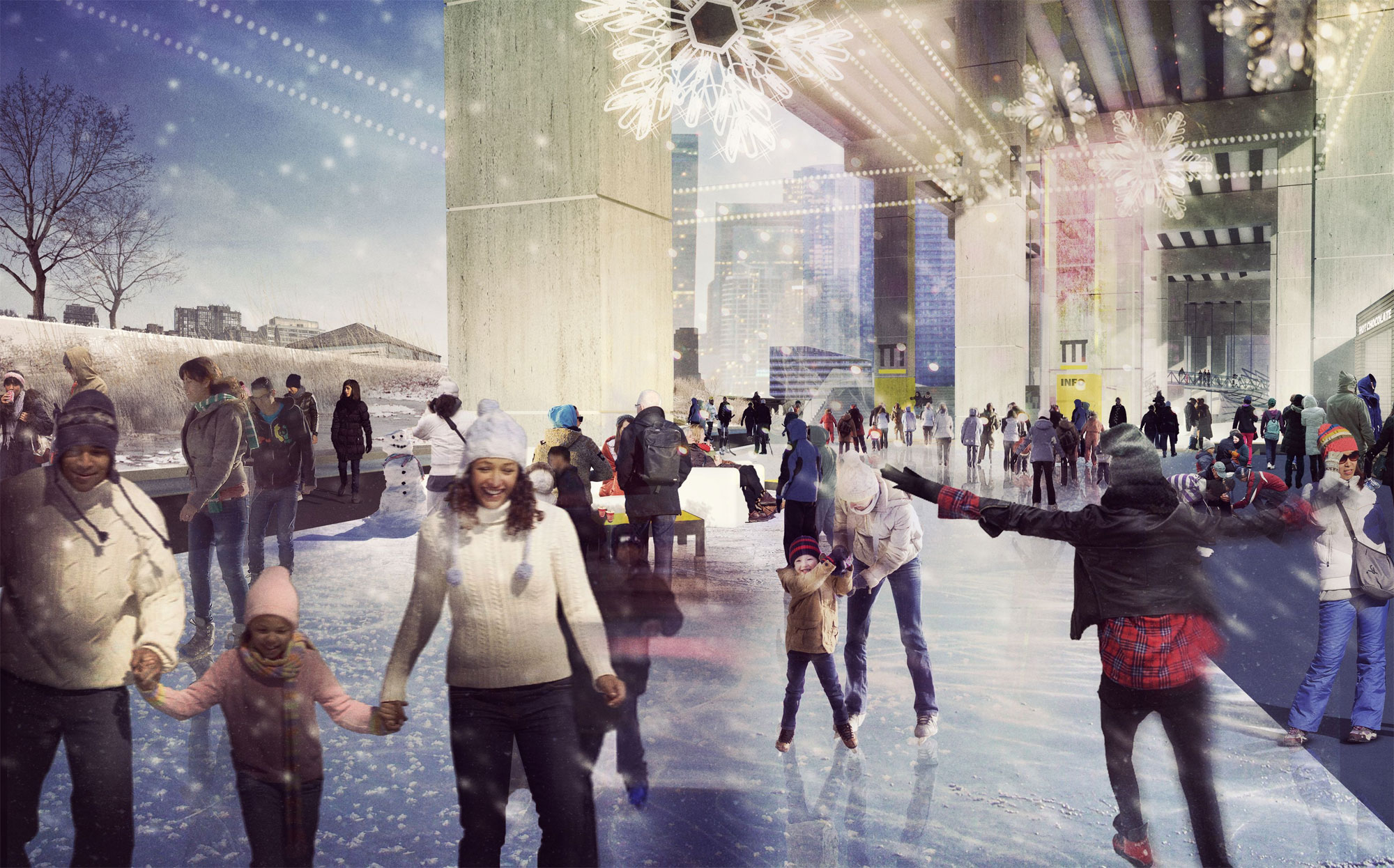 "Artist rendition of wintertime at ""Project: Under Gardiner"" near the Fort York Visitor Centre. Photo by Public Work via Waterfront Toronto."