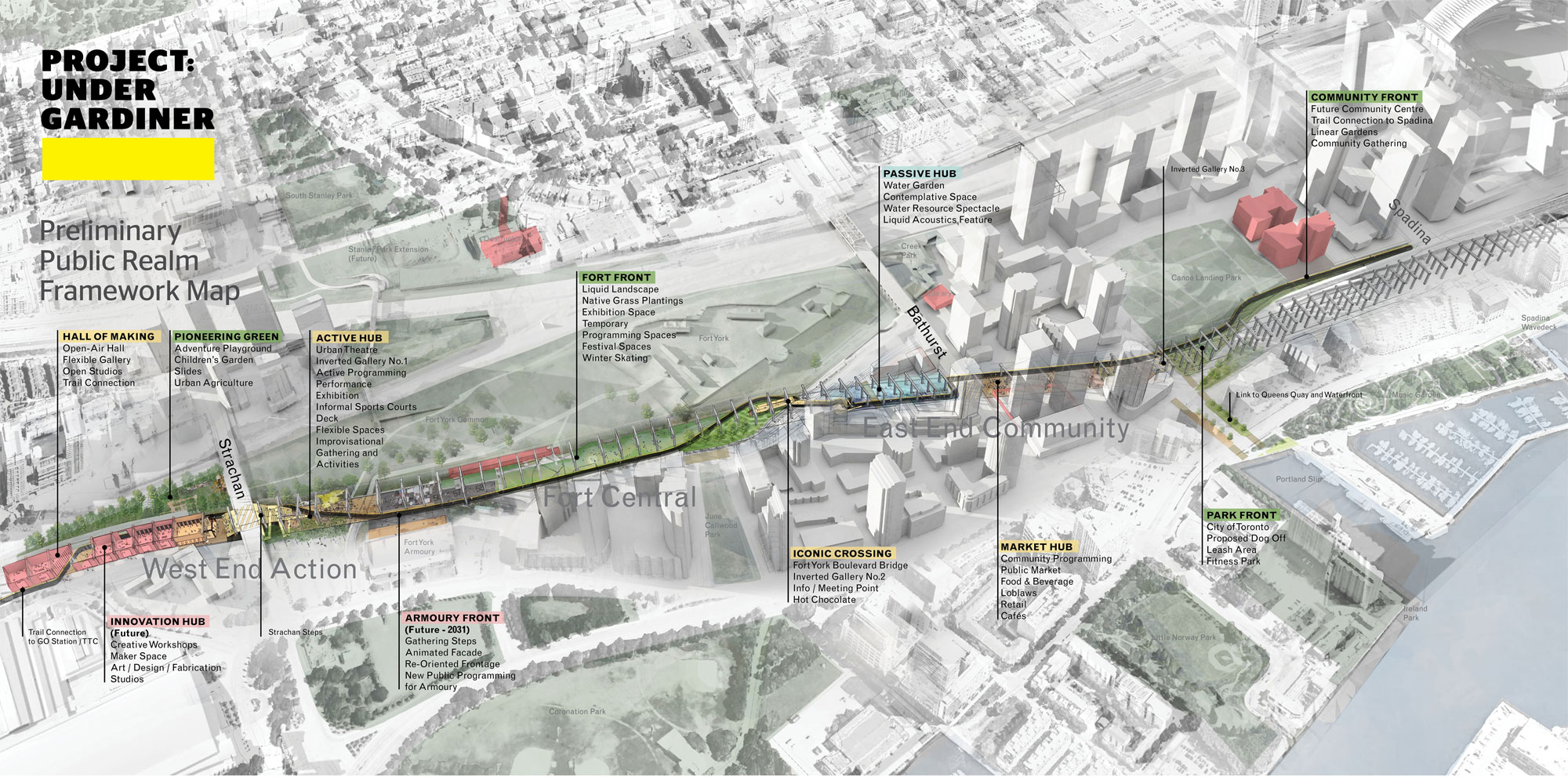 """The preliminary design framework for """"Project: Under Gardiner"""" outlines a new public space that knits together some of Toronto's most dense neighbourhoods and connects a number of new or planned amenities. Photo by Public Work via Waterfront Toronto."""