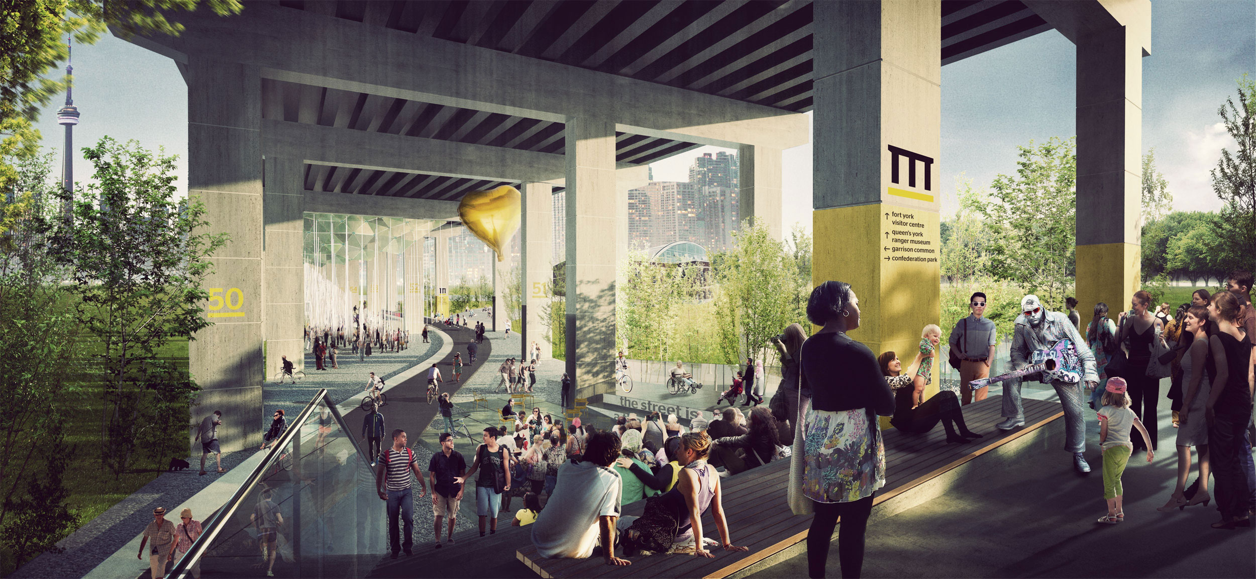 "The vision for ""Project: Under Gardiner"" includes a grand staircase at Strachan that doubles as seating for an urban theatre. Photo by Public Work via Waterfront Toronto."
