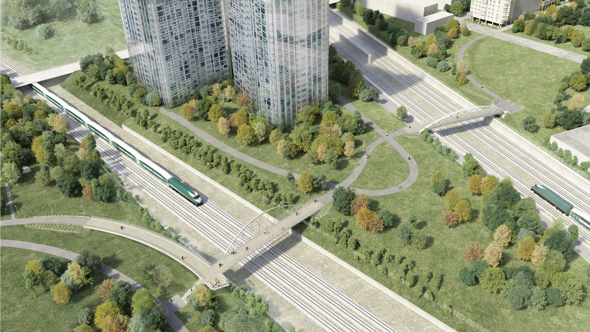 A bird's eye view of the Fort York pedestrian and bicycle bridge from the southeast. BUILD TORONTO.
