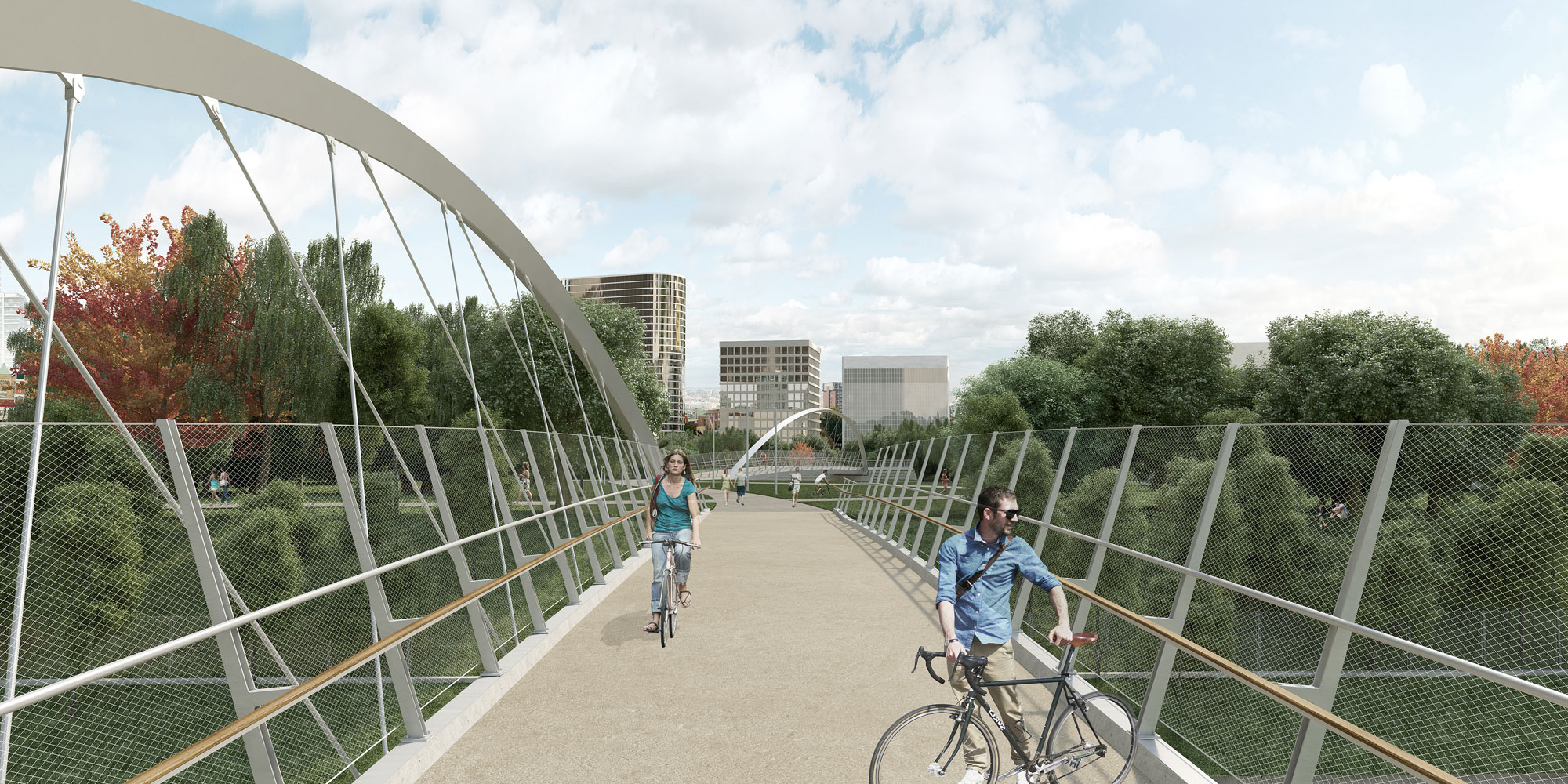 View of the south Fort York pedestrian and bicycle bridge looking north. BUILD TORONTO.