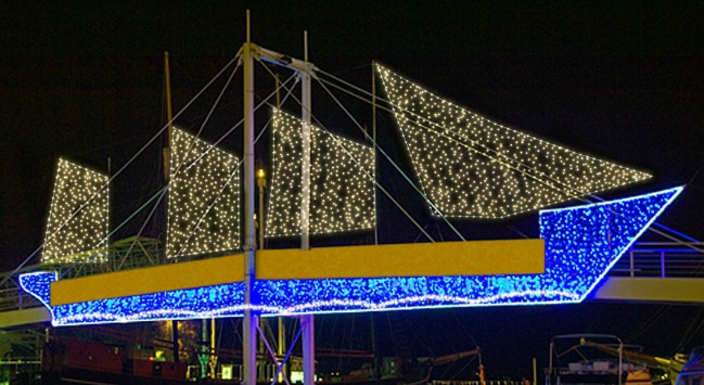 The Tall Ship on the Amsterdam Bridge at Harbourfront Centre decorated with lights. Photo via blog.waterfrontoronto.ca.