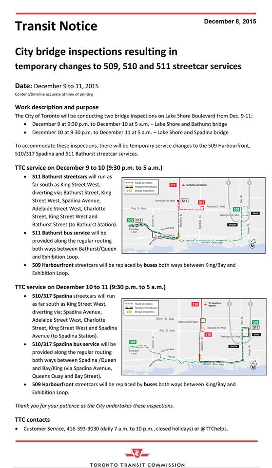 TTC streetcar changes Dec 9-11, 2015. Image via TTC