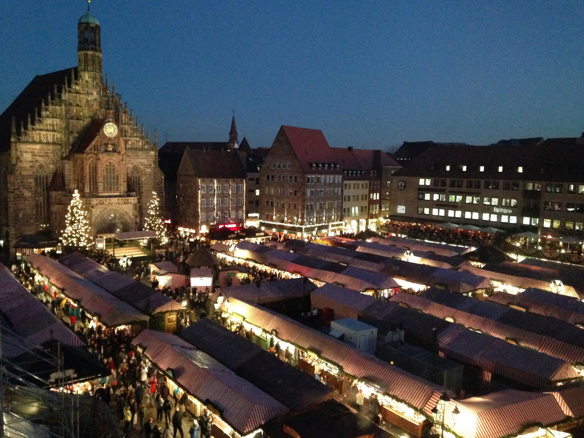 Lights illuminate the Christmas market in Nuremberg, Germany, on Dec. 7, 2015. 680 NEWS/Patricia D'Cunha.
