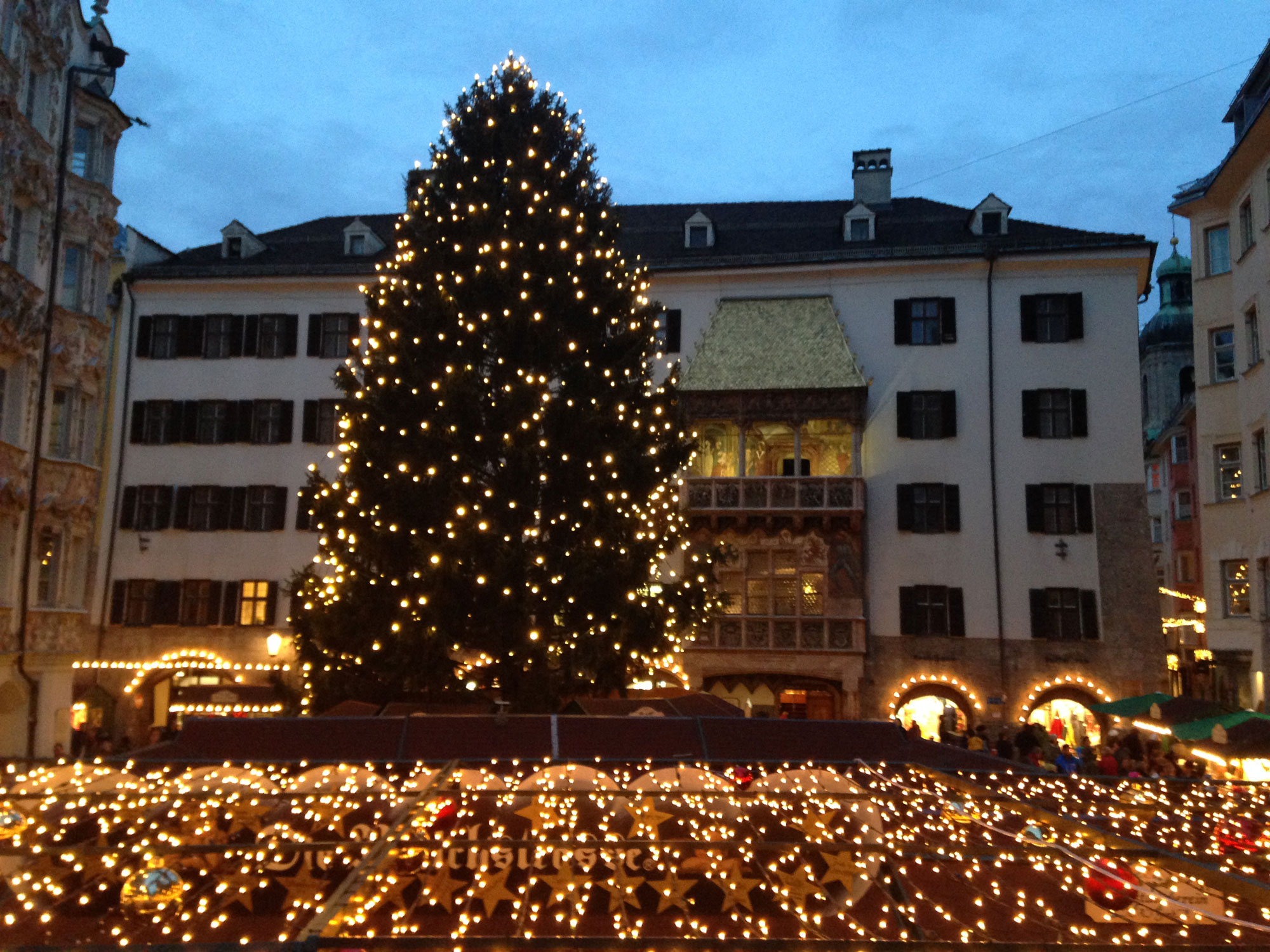 Strings of lights at the Christmas market in Innsbruck, Austria, on Dec. 4, 2015. 680 NEWS/Patricia D'Cunha.